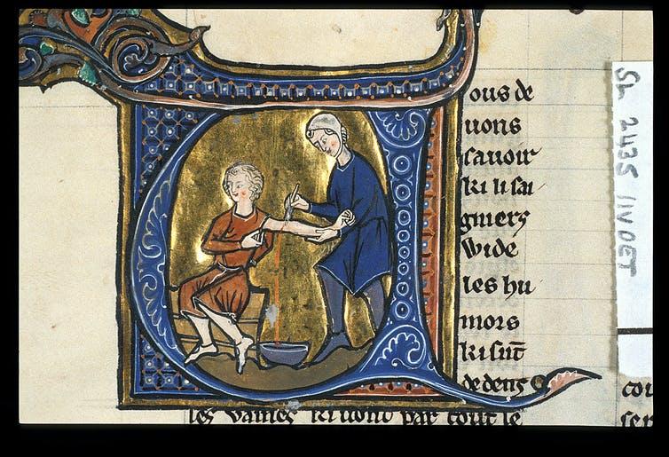 Phlebotomy for love sickness in Aldobrandino of Siena's 'Régime du Corps'. British Library, MS Sloane 2435, f.11v. France, late 13thC. Wikimedia Commons